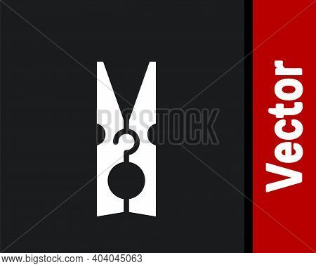 White Old Wood Clothes Pin Icon Isolated On Black Background. Clothes Peg. Vector