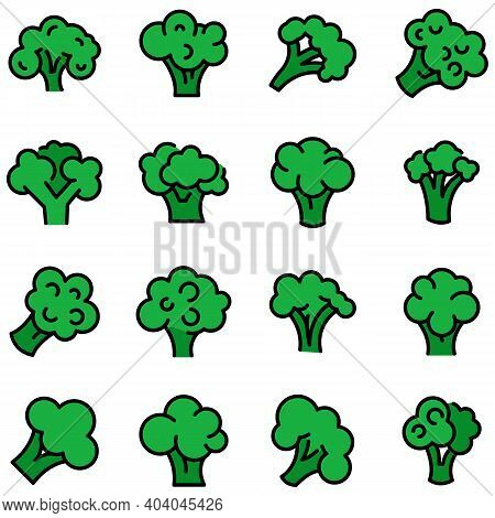 Broccoli Icons Set. Outline Set Of Broccoli Vector Icons Thin Line Color Flat On White