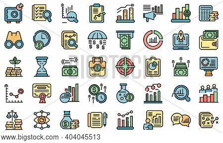 Market Forecast Icons Set. Outline Set Of Market Forecast Vector Icons Thin Line Color Flat On White