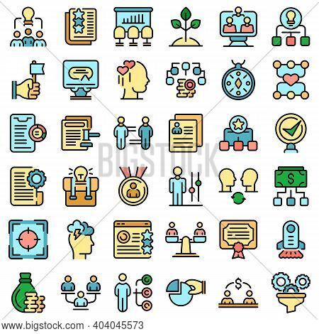Contribute Work Icons Set. Outline Set Of Contribute Work Vector Icons Thin Line Color Flat On White