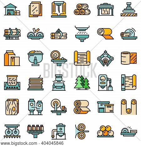 Paper Production Icons Set. Outline Set Of Paper Production Vector Icons Thin Line Color Flat On Whi