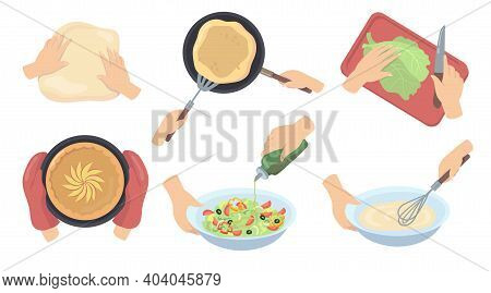 Human Hands Preparing Food Flat Set For Web Design. Cartoon Process Of Cooking Pie, Mixing Dough, Cu