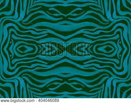 Seamless Ethnic Banner. Abstract Animal Textile Design. Psychedelic Safari Wallpaper. Dark Tiger Ski