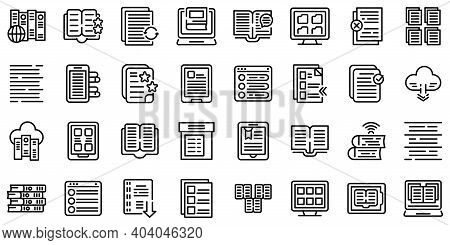 Electronic Catalogs Icons Set. Outline Set Of Electronic Catalogs Vector Icons For Web Design Isolat