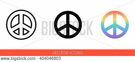 Pacific, Peace Sign, International Symbol Of Peace, Disarmament, Antiwar Movement In Rainbow Color I