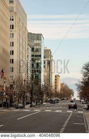 Washington Dc Street View With Bike Lane