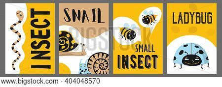 Yellow Poster Designs With Funny Insects. Colorful Brochures For Advertisement With Snail, Bees, Wor