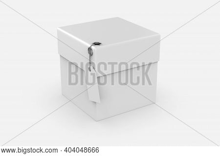Packaging Box With Label Mockup Isolated White Background. 3d Illustration