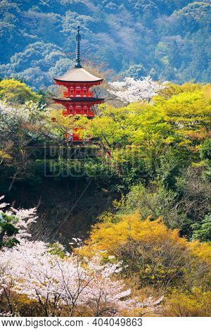 Kyoto, Japan at Kiyomizu-dera's pagoda during spring season.