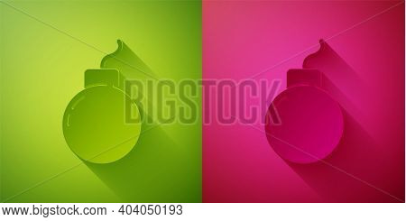 Paper Cut Bomb Ready To Explode Icon Isolated On Green And Pink Background. Paper Art Style. Vector