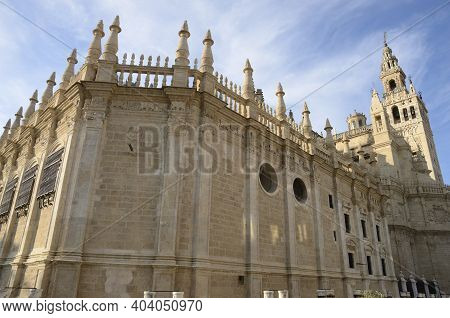 Cathedral And Minaret Of Seville, Andalusia, Spain.