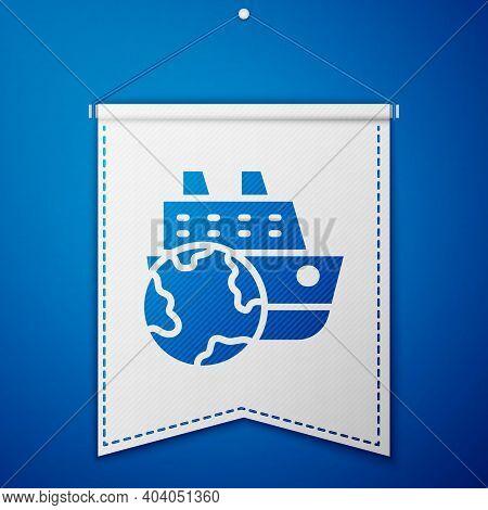 Blue Cruise Ship Icon Isolated On Blue Background. Travel Tourism Nautical Transport. Voyage Passeng