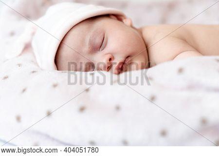 Childhood, Care, Motherhood, Health, Medicine, Pediatrics Concepts - Close Up Little Peace Calm Nake