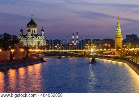 Moscow, Russia - April 29, 2018: Sunset View Of Cathedral Of Christ The Savior, Moscow Kremlin And M