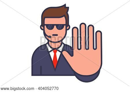 Bodyguard Icon With Sunglasses And Walkie-talkie. Show Stop Hand Gesture. Flat Vector Character Illu