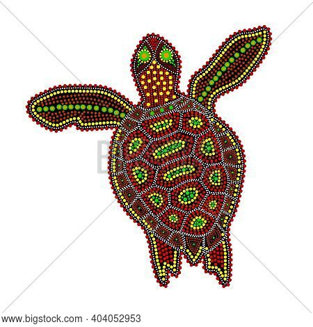 Turtle Isolated On White Background. Australia Aboriginal Turtle Dot Painting. Aboriginal Styled Col