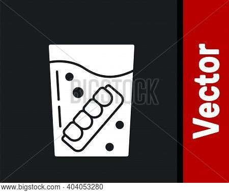 White False Jaw In Glass Icon Isolated On Black Background. Dental Jaw Or Dentures, False Teeth With