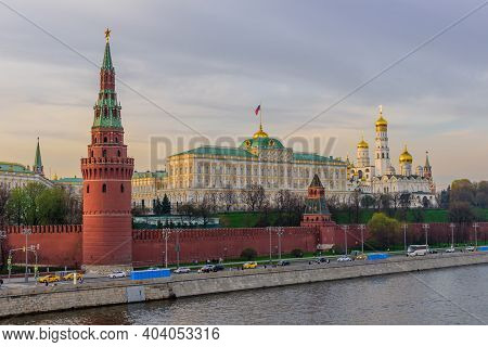 Moscow, Russia - May 1, 2018: Sunset View Of Moscow Kremlin And Moscow River. Architecture And Landm