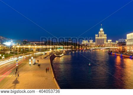 Moscow, Russia - April 29, 2018: City Of Moscow At Night. Moscow River, Zaryadye Park And Buildings