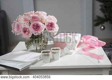 Rose White Pink O'hara. A Bouquet Of Pink Roses In Vase, Two Porcelain Cups With Tea, Box With Heart