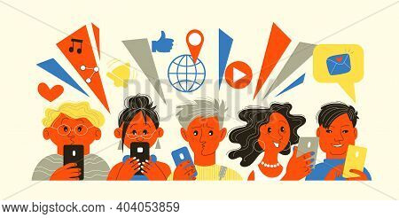 Vector Illustration. People Hold Mobile Phones In Their Hands And Use Them For Different Purposes. P