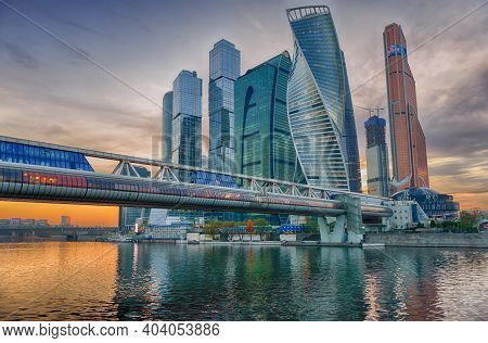 Moscow, Russia - May 1, 2018: Moscow City (moscow International Business Center) And Moscow River, B