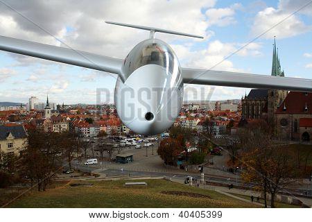 White Sailplane Flying Frontal