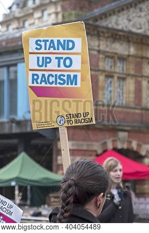 Bristol, Uk - November 12, 2016: A Woman Carrying A Placard With The Slogan