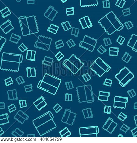 Green Line Textile Fabric Roll Icon Isolated Seamless Pattern On Blue Background. Roll, Mat, Rug, Cl