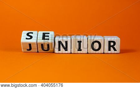 From Junior To Senior Symbol. Turned Cubes And Changed The Word 'junior' To 'senior'. Beautiful Oran