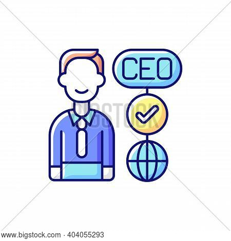 Ceo Rgb Color Icon. Chief Executive Officer. Highest-ranking Person In Company. Guiding Employees. T