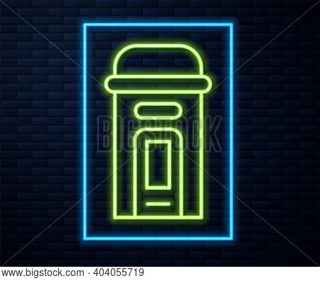 Glowing Neon Line London Phone Booth Icon Isolated On Brick Wall Background. Classic English Booth P