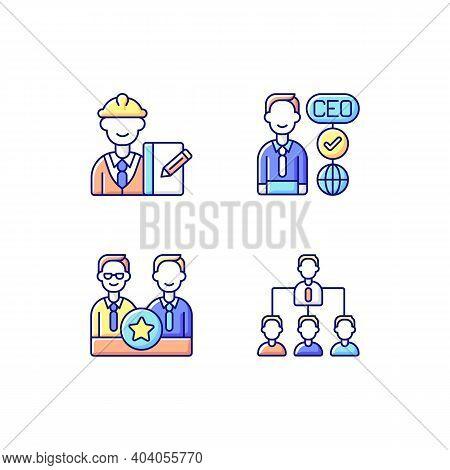 Organization Hierarchy Rgb Color Icons Set. Supervisor. Ceo. Directors Board. Hierarchy In Business.
