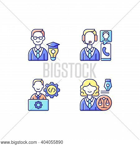 Management Structure Rgb Color Icons Set. Educational Management. Customer Service And Support. It D