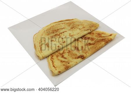 French Crepes Isolated On The White Background.
