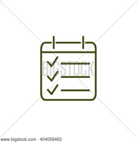 Simple Icon Of Planner Page With Marked Done Tasks Flat Vector Illustration