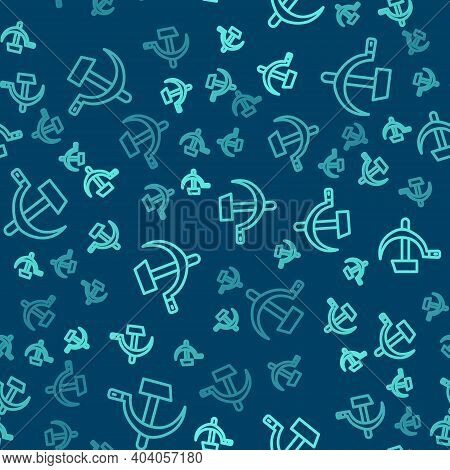 Green Line Hammer And Sickle Ussr Icon Isolated Seamless Pattern On Blue Background. Symbol Soviet U