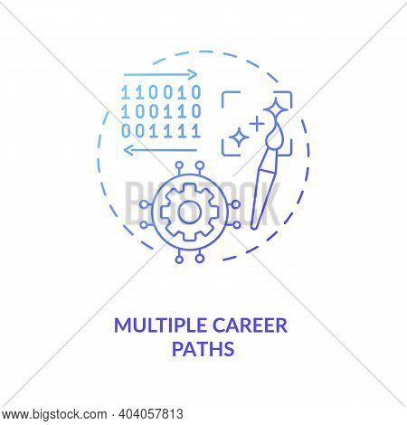Multiple Career Paths Concept Icon. Game Design Industry Benefits. Personal Growth And Autonomy From
