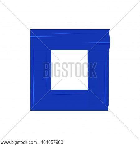 Pieces Of Blue Adhesive Paper Stuck In Square Shape Realistic Vector Illustration