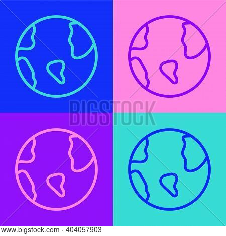 Pop Art Line Earth Globe Icon Isolated On Color Background. World Or Earth Sign. Global Internet Sym