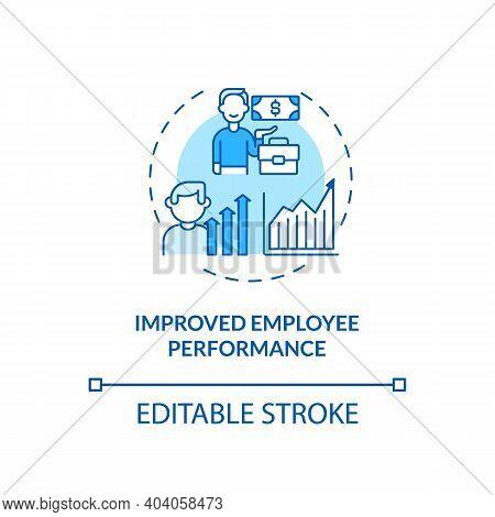 Improved Employee Performance Concept Icon. Staff Training Idea Thin Line Illustration. Employee Dev