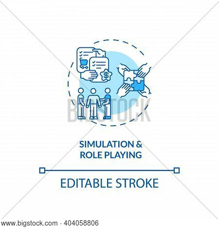 Simulation And Role Playing Concept Icon. Staff Training Idea Thin Line Illustration. Re-creating Wo