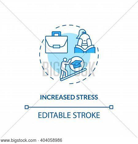Increased Stress Concept Icon. Staff Training Disadvantage Idea Thin Line Illustration. High Depress