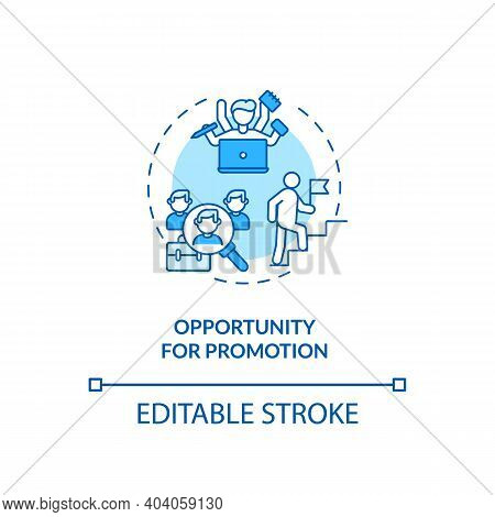Opportunity For Promotion Concept Icon. Employee Position Advancement Idea Thin Line Illustration. O
