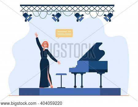 Singer Performing On Stage. Singing Woman, Vocalist, Great Piano. Flat Vector Illustration. Performa