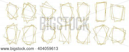 Golden Geometric Frames. Geometrical Polyhedron. Set Of Luxury Frames. Vector Border Collection For