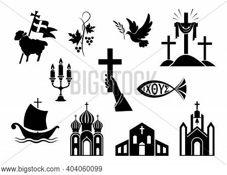 Religious Christian Signs And Symbols. Set Of Icons. Church, Hands Holding  Cross, Dove With Branch,