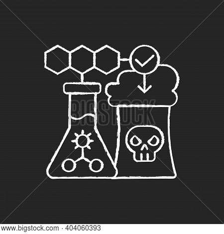 Environmental Biotechnology Chalk White Icon On Black Background. Chemical Production. Biotechnologi