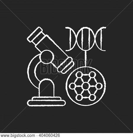 Dna Microarray Chalk White Icon On Black Background. Microscopic Analysis. Nano Organism Sample. Gen