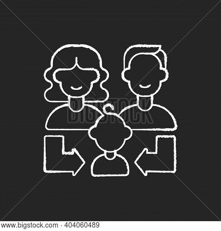 Heredity Chalk White Icon On Black Background. Human Life Reproduction. Family Generation. Couple Of